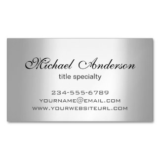 Silver Metallic Gradient - Stainless Steel Look Magnetic Business Cards