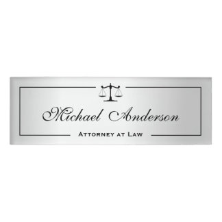 Silver Metallic Look Attorney Justice of Scale Name Tag