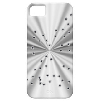Silver metallic look & bullet holes case for the iPhone 5