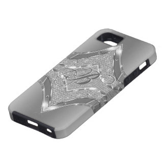 Silver Metallic Look With Diamonds Pattern 3 iPhone 5 Case