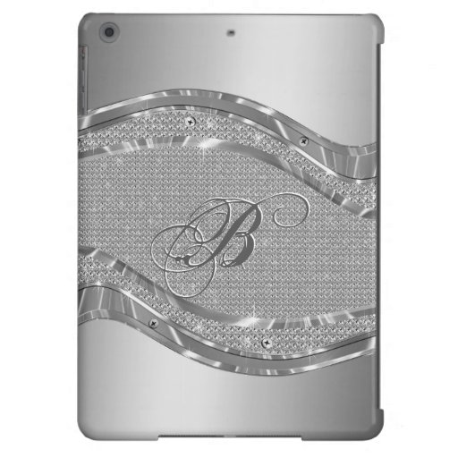 Silver Metallic Look With Diamonds Pattern iPad Air Cases