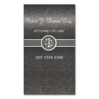 Silver Metallic Professional Lawyer Attorney Magnetic Business Cards