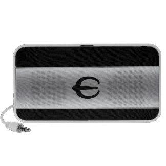 Silver metallic speaker with monogram logo