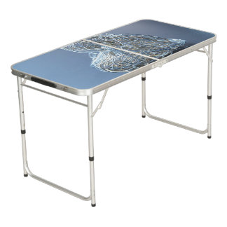 Silver Metallic Wire Heart Beer Pong Table