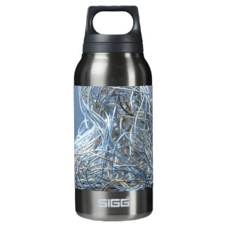 Silver Metallic Wire Heart Insulated Water Bottle
