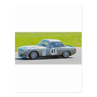 Silver MG racing car Postcard