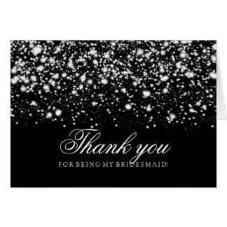 Silver Midnight Glam Thank You Bridesmaid Greeting Card