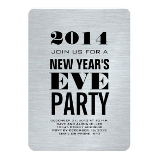 Silver Modern 2014 New Year's Eve Party Card