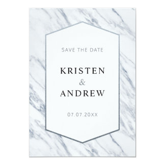 Silver Modern Marble | Save The Date Card