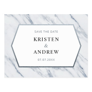 Silver Modern Marble | Save The Date Postcard