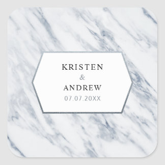 Silver Modern | Marble Wedding Stickers