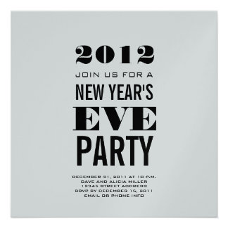 Silver Modern New Year s Eve Party Invite