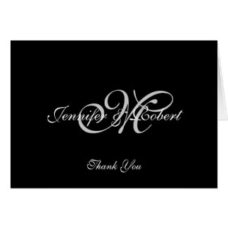 Silver Monogram Anniversary Thank You Card