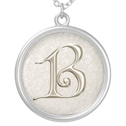 Silver Monogram Necklace - letter B