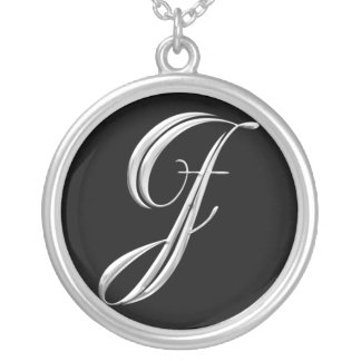 Silver Monogram Necklace - letter J
