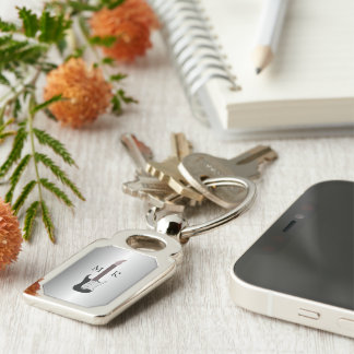 Silver Monogrammed Electric Guitar Key Ring