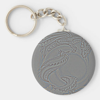 Silver Moon Dragon Key Chain