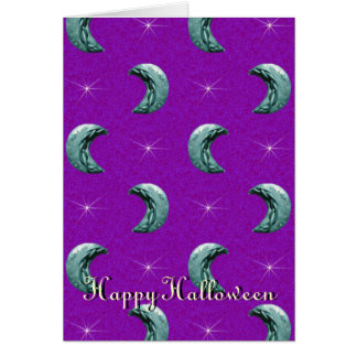 Silver Moon Halloween Purple Background Greeting Card