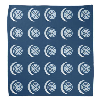 Silver Moon Spirals on dark blue Bandana