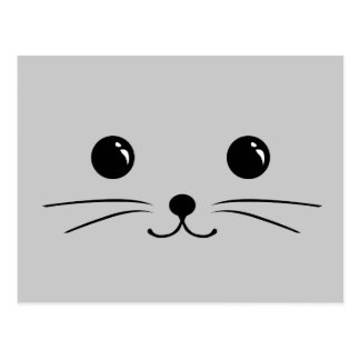 Silver Mouse Cute Animal Face Design Post Cards