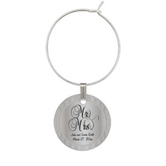 Silver Mr. and Mrs. Wedding or Anniversary Wine Glass Charms