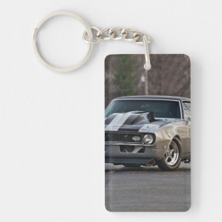 Silver Muscle car Double-Sided Rectangular Acrylic Key Ring