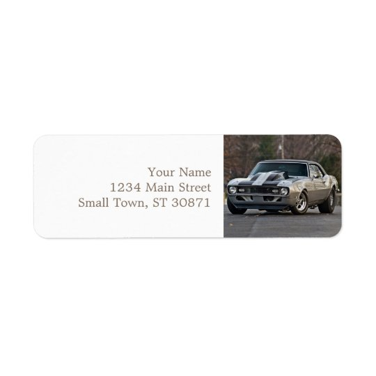 Silver Muscle car Return Address Label