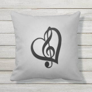 Silver Music Design Heart Outdoor Cushion