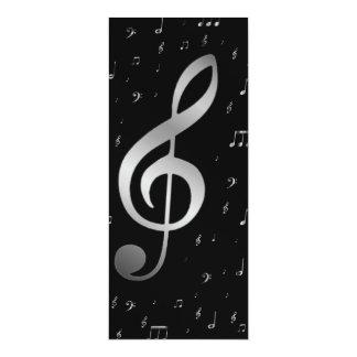 silver music notes 10 cm x 24 cm invitation card