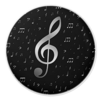 silver music notes ceramic knob