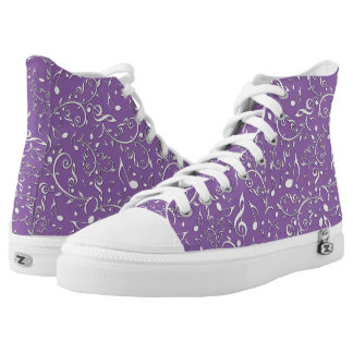 Silver Music Notes Custom Colour High Top Shoes Printed Shoes