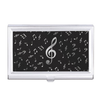 silver music notes in black business card case