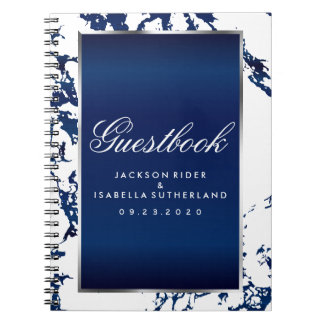 Silver, Navy Blue Marble & White  - Guestbook Notebooks