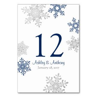 Silver Navy Blue White Snowflakes Winter Wedding Card