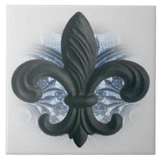 """""""silver/navy"""" iron fleur de lis LARGE TILE/TRIVET Large Square Tile"""