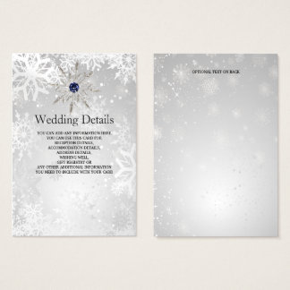 silver navy snowflakes winter Wedding Details Card