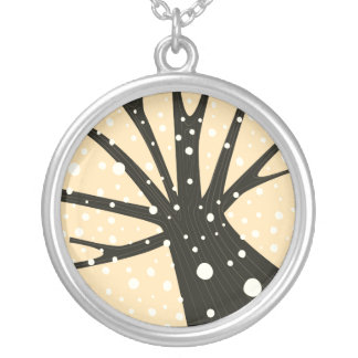 Silver necklace with tree