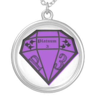 Silver neckles with Platnum3 logo Round Pendant Necklace