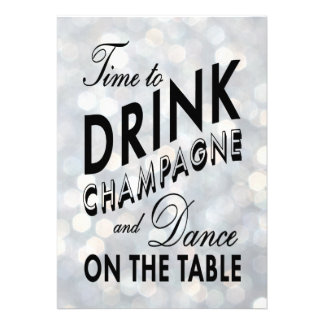 Silver New Year s Time to Drink Champagne Invite