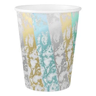 Silver old White Gray Mint Blue Marble Stripes Paper Cup