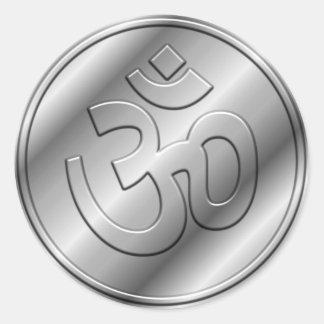 Silver Om Sign Round Sticker