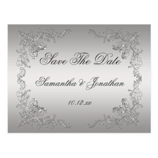Silver Ombre Ornate Silver Swirls Save The Date Postcard