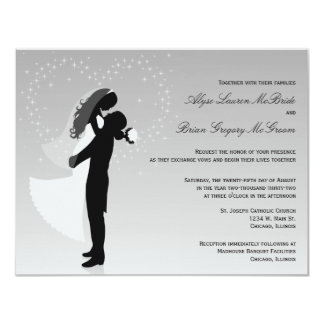 Silver Ombre Silhouette Formal Wedding Invite