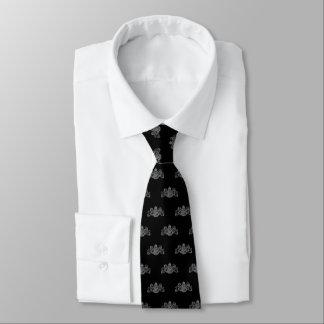 Silver On Black Lion Unicorn Emblem Tuxedo Tie