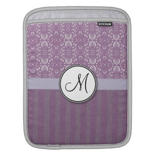 Silver on Lavender Damask with Stripes & Monogram iPad Sleeves