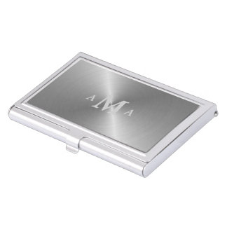 Silver on Silver Monogram Business Card Holder