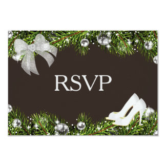 Silver Ornament and Christmas Wedding RSVP Card
