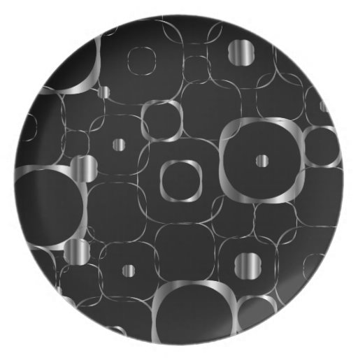 Silver Ornamental background Party Plates