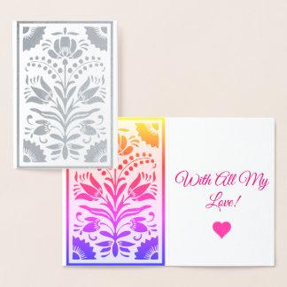 Silver Ornamental Fllowers Foil Card