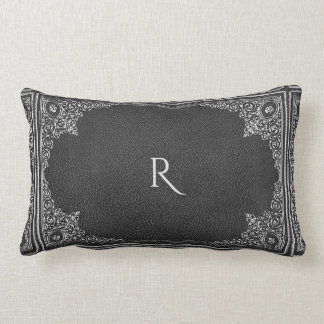 Silver Ornamental on Black with Initial(s) Lumbar Cushion